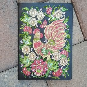 Jeweled Rooster Soft Leather Notebook/journal NWOT